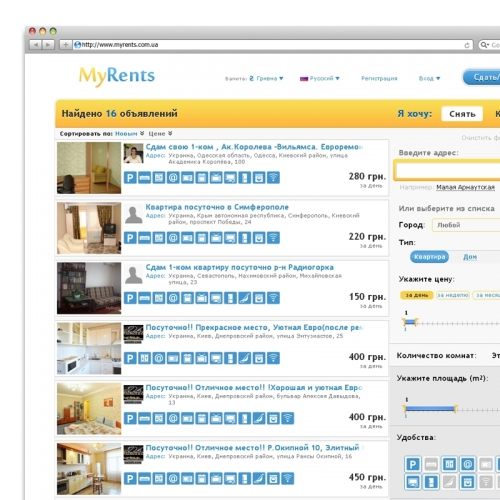 "Portal of real estate in Ukraine ""MyRents"""